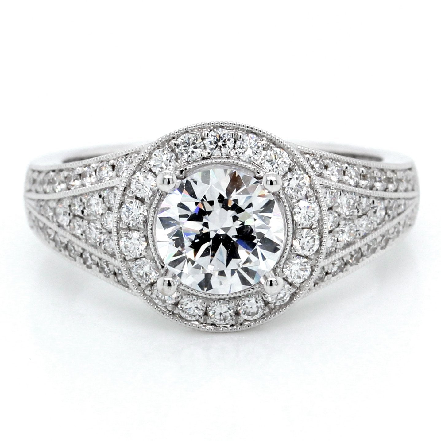 18K White Gold Vintage Halo Milgrain Engagement Ring
