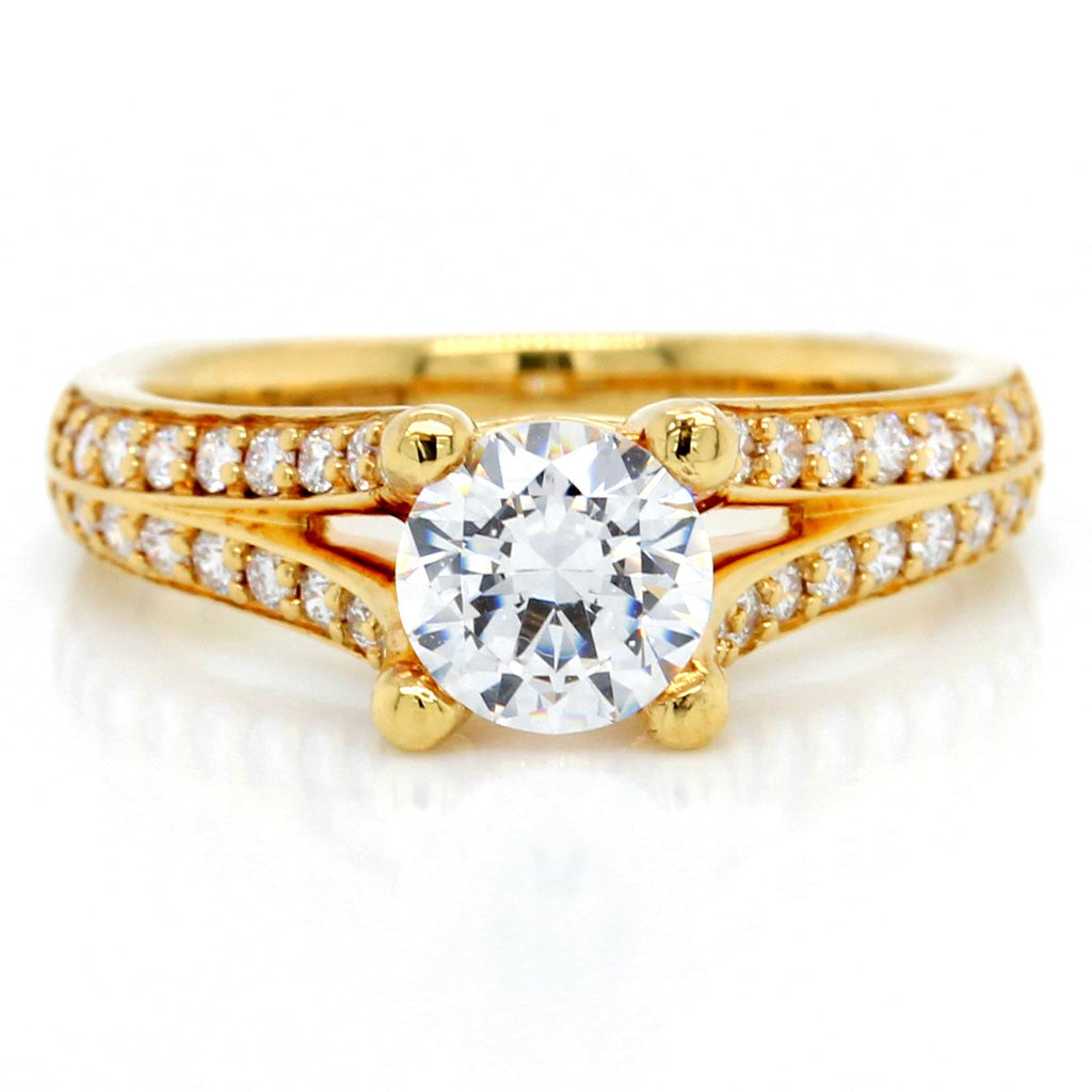 18K Yellow Gold Split Shank Diamond Engagement Ring