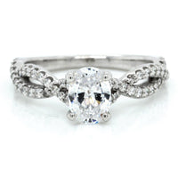 18K White Gold Twisted Shank Oval Engagement Ring