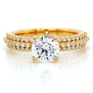 18K Yellow Gold Three-Row Pave Engagement Ring