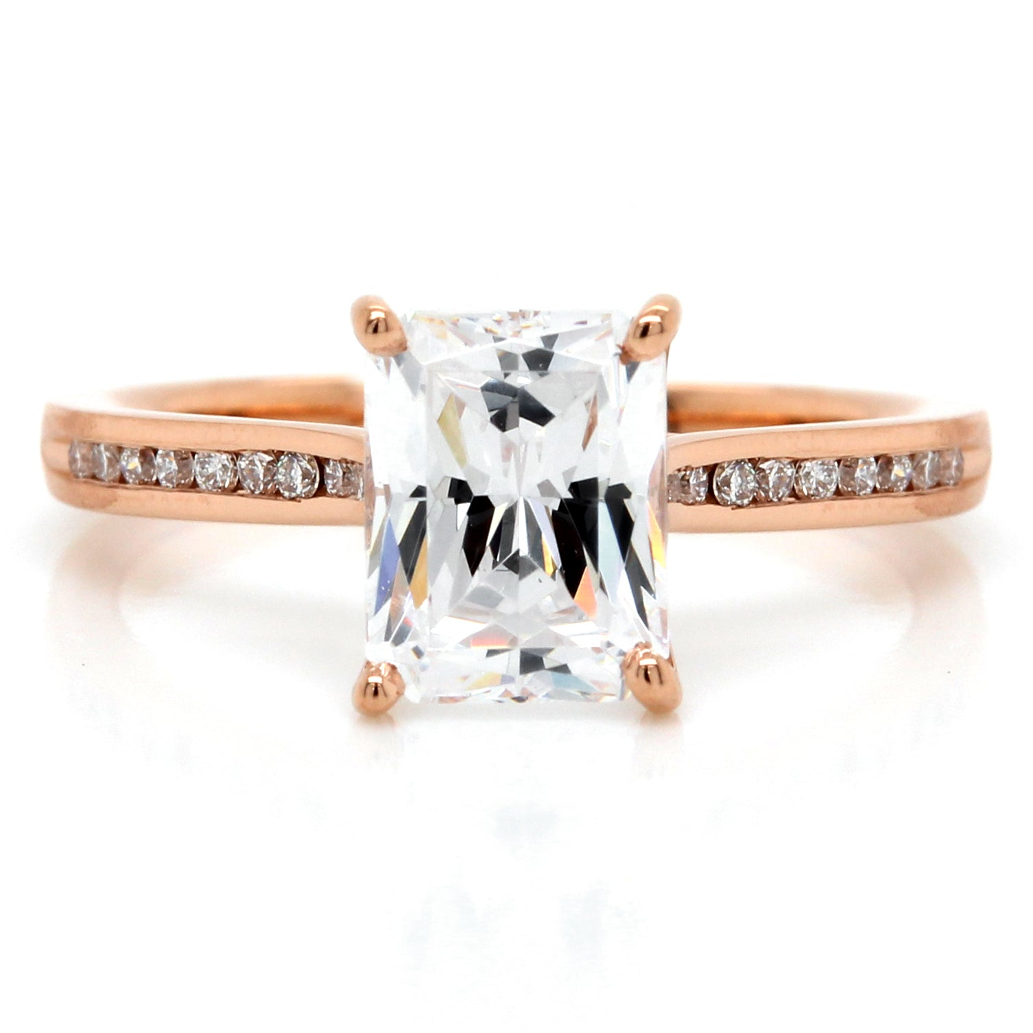 18K Rose Gold Channel Set Pave Engagement Ring Setting