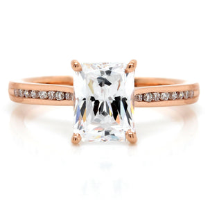 18K Rose Gold Channel Set Pave Engagement Ring