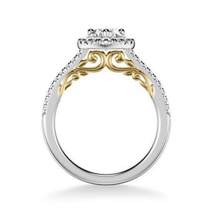 18K White and Yellow Gold Pear Halo Engagement Ring Setting