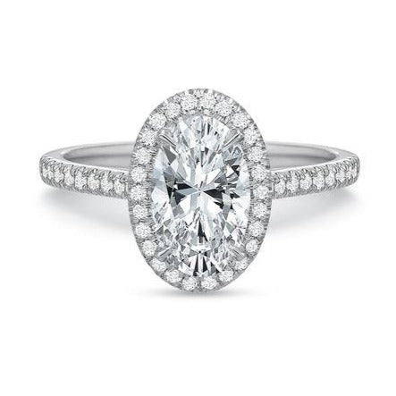 Platinum Oval Halo Engagement Ring Setting