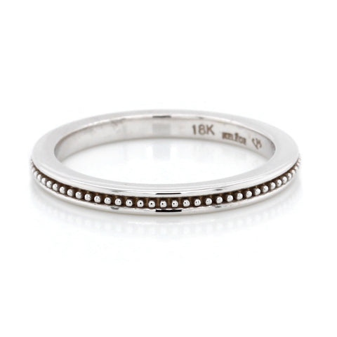 18K White Gold Beaded Plain Band