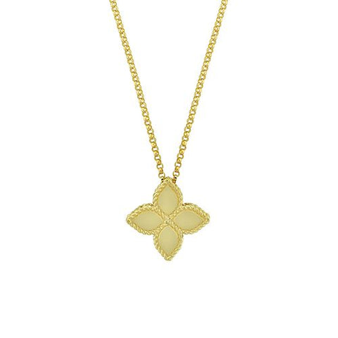 18K Yellow Gold Princess Flower Pendant