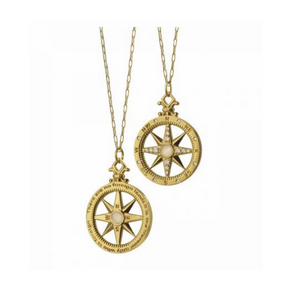 "18K Yellow Gold ""Travel"" Compass Charm Necklace"