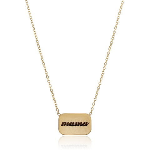 14K Yellow Gold Rounded Rectangle Disc Necklace