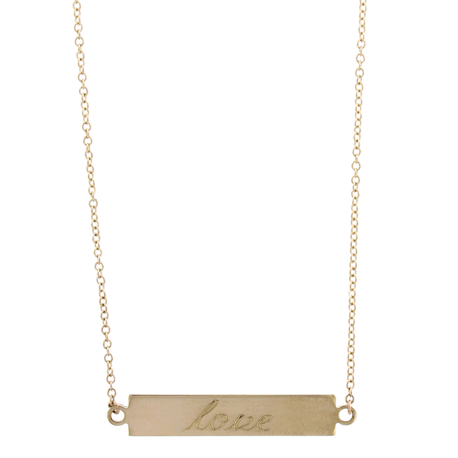 14K Yellow Gold ID Bar Necklace