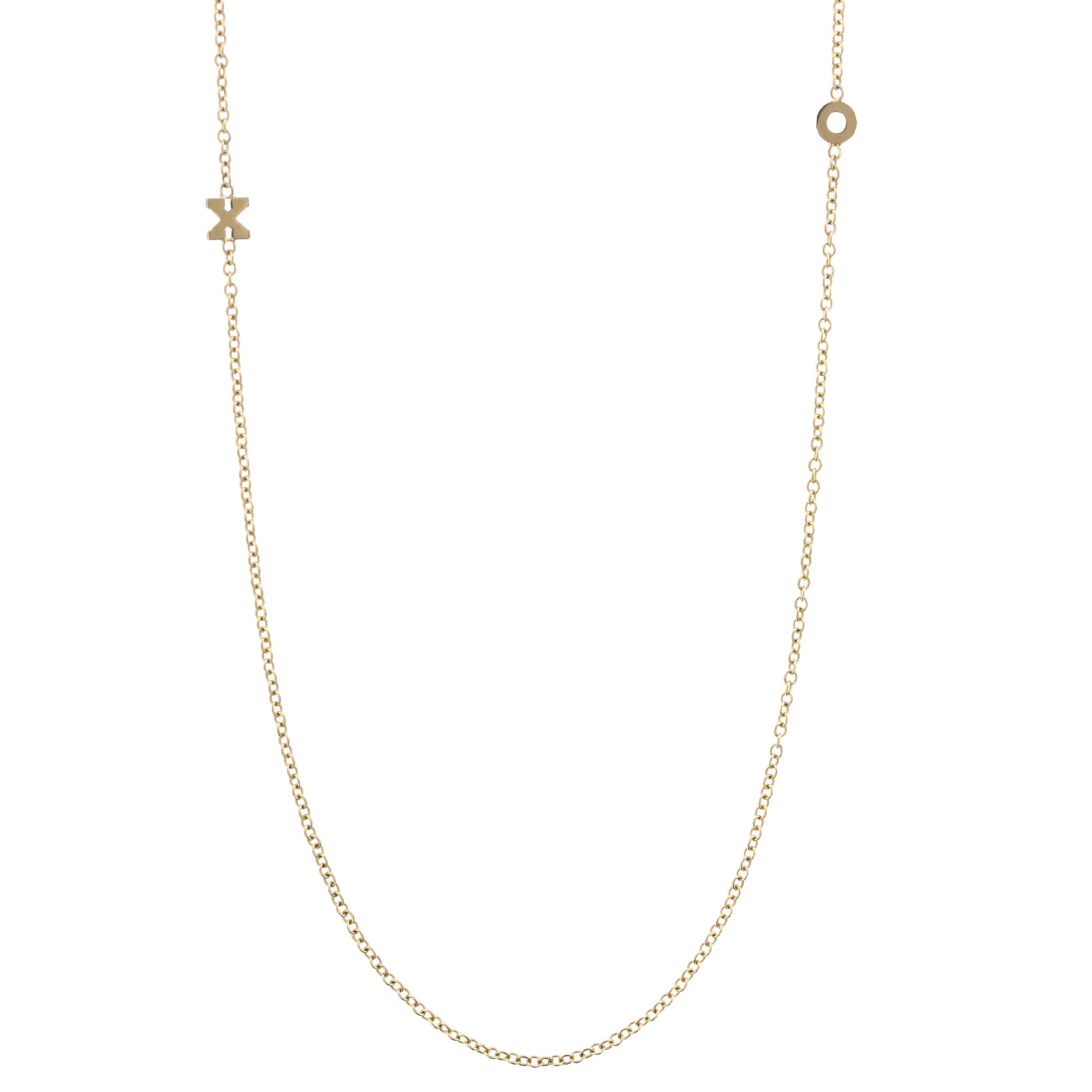 14K Yellow Gold Initials Necklace