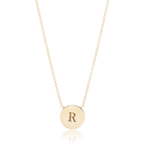 14K Yellow Gold Small Round Disc Initial Necklace