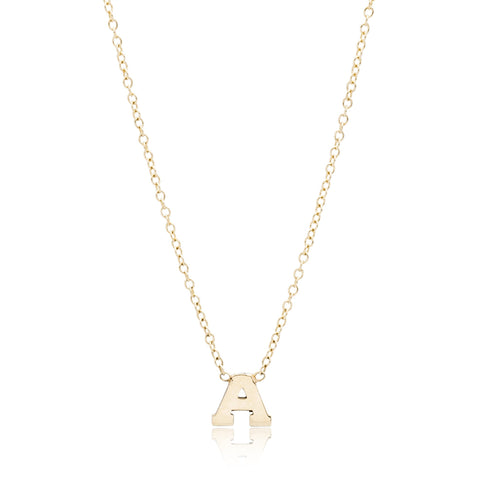 14K Yellow Gold Single Letter Necklace