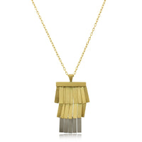 18K Yellow Gold and Platinum Moonlight Fringe Pendant