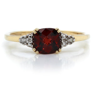 14K Yellow Gold Cushion Garnet Diamond Ring