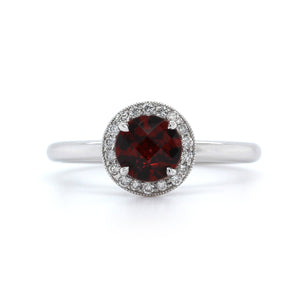 14K White Gold Garnet Diamond Halo Ring