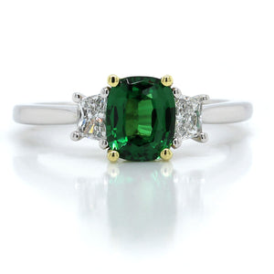 Platinum Cushion Tsavorite and Diamond Ring