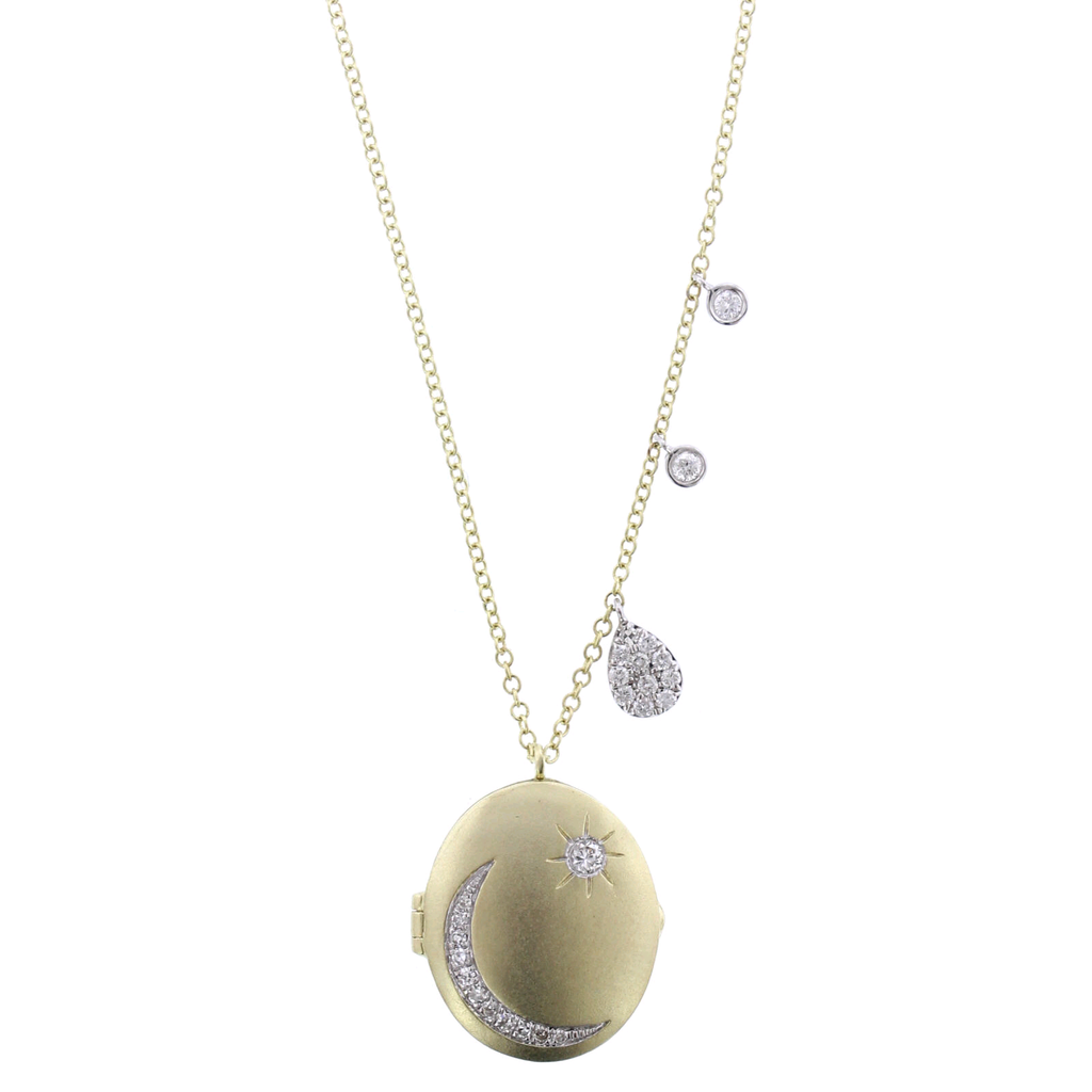 14K Two-tone Diamond Moon Necklace