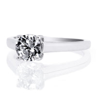 18K White Gold Solitaire Four-Prong Tulip Cathedral Engagement Ring Setting