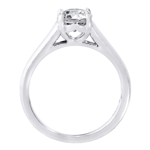 18K White Gold Solitaire 4-Prong Diamond Tulip Cathedral Engagement Ring