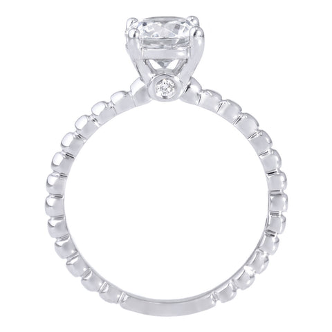18K White Gold Solitaire Four-Prong Beaded Engagement Ring with Surprise Diamonds