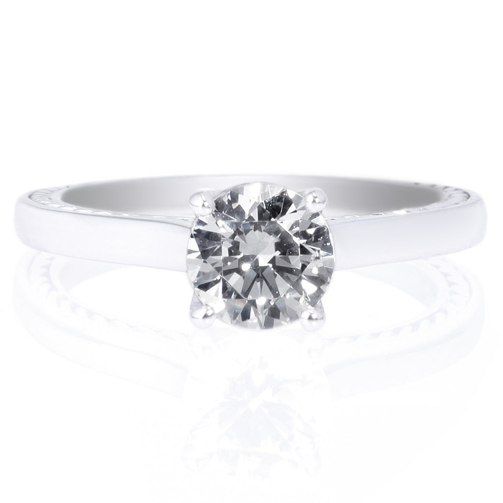 18k White Gold Modern Solitaire Semibezelset Diamond Engagement Ring
