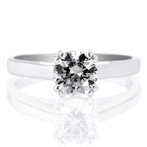 18K White Gold Solitaire Diamond Cathedral Tulip Engagement Ring