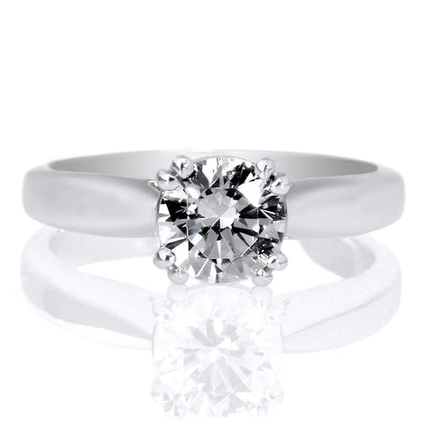 18K White Gold Solitaire Diamond Tulip Cathedral Airline Edge Engagement Ring