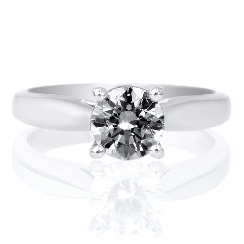 Platinum Solitaire Cathedral Tapered Engagement Ring