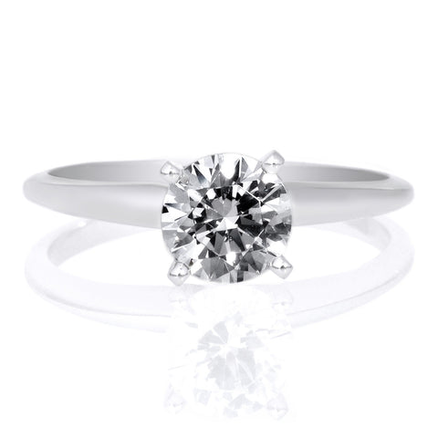 Platinum Round V Diamond Shank Engagment Ring