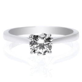 Platinum Solitaire Diamond Engagement Ring with Tapered Baguettes