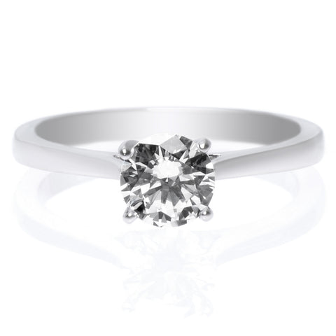 18K White Gold Classic Solitaire Diamond Engagement Ring with Surprise Diamonds