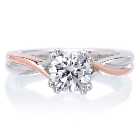 18K White and Rose Gold Solitude Engagement Ring