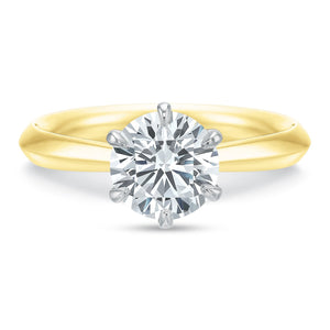 18K Yellow Gold Classic Solitaire Six-Prong Engagement Ring Setting