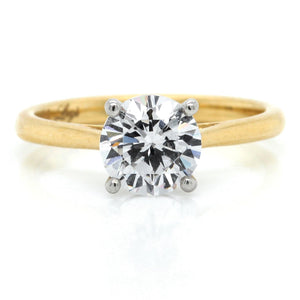 18K Yellow Gold Four Prong Solitaire Engagement Ring