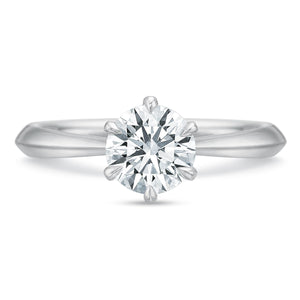 Platinum Classic Solitaire Six-Prong Engagement Ring Setting