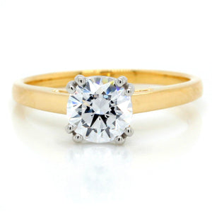 18K Yellow Gold Tulip Cathedral Solitaire Engagement Ring