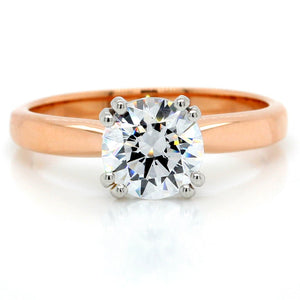 18K Rose Gold Tulip Airline Solitaire Engagement Ring