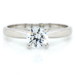 18K White Gold Airline Solitaire Engagement Ring