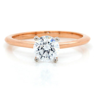 18K Rose Gold Knife Edge Solitaire Engagement Ring