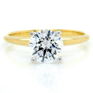 18K Yellow Gold Knife Edge Solitaire Engagement Ring