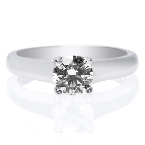 18K White Gold Solitaire Cathedral Tulip Engagement Ring