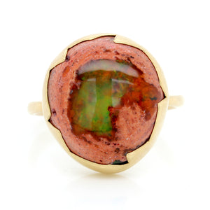 18K Yellow Gold Mexican Opal Egg Ring