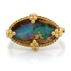 18K Yellow Gold Opalized Wood Ring