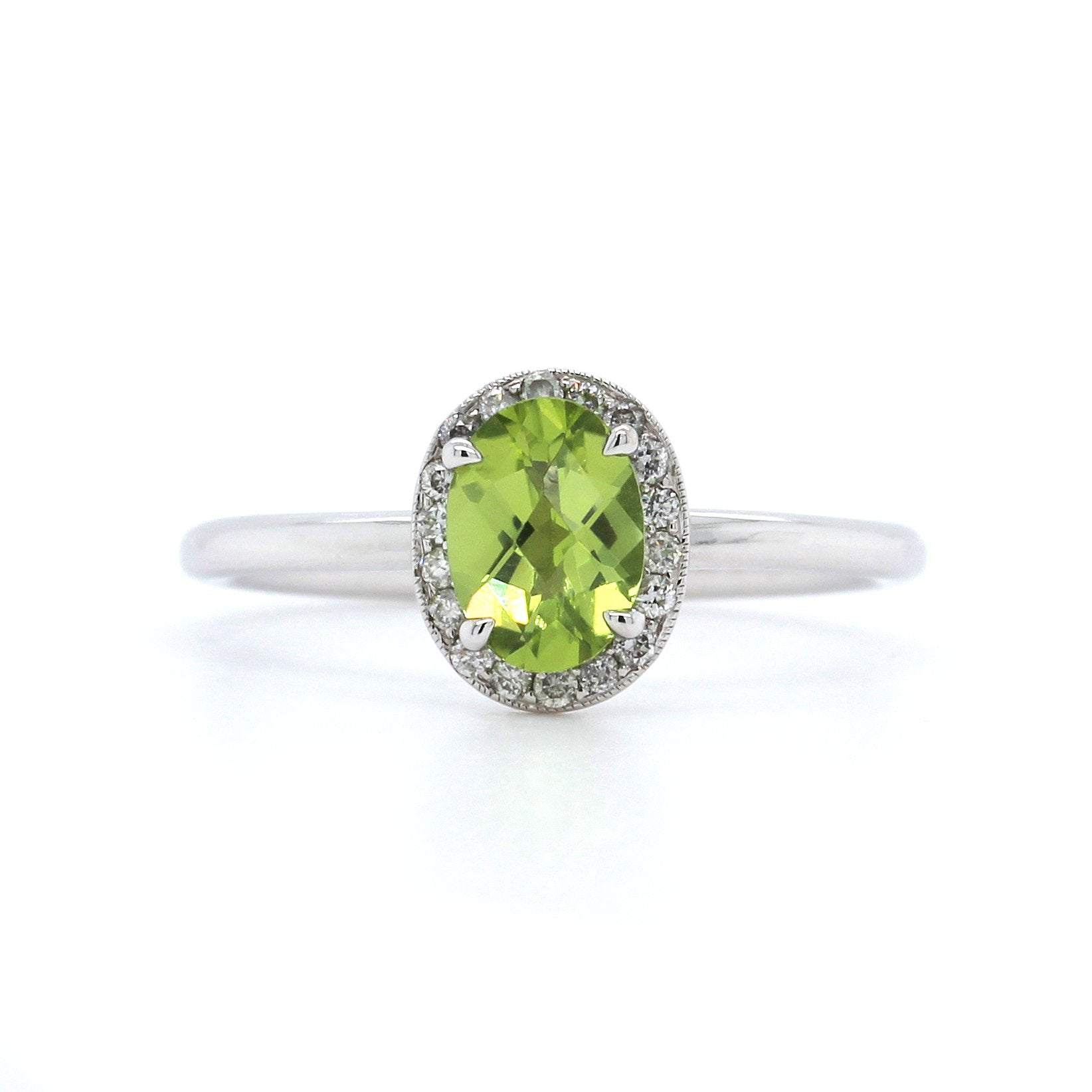 14K White Gold Peridot Diamond Halo Ring