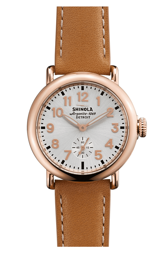 Shinola Ladies Runwell Leather Strap Watch