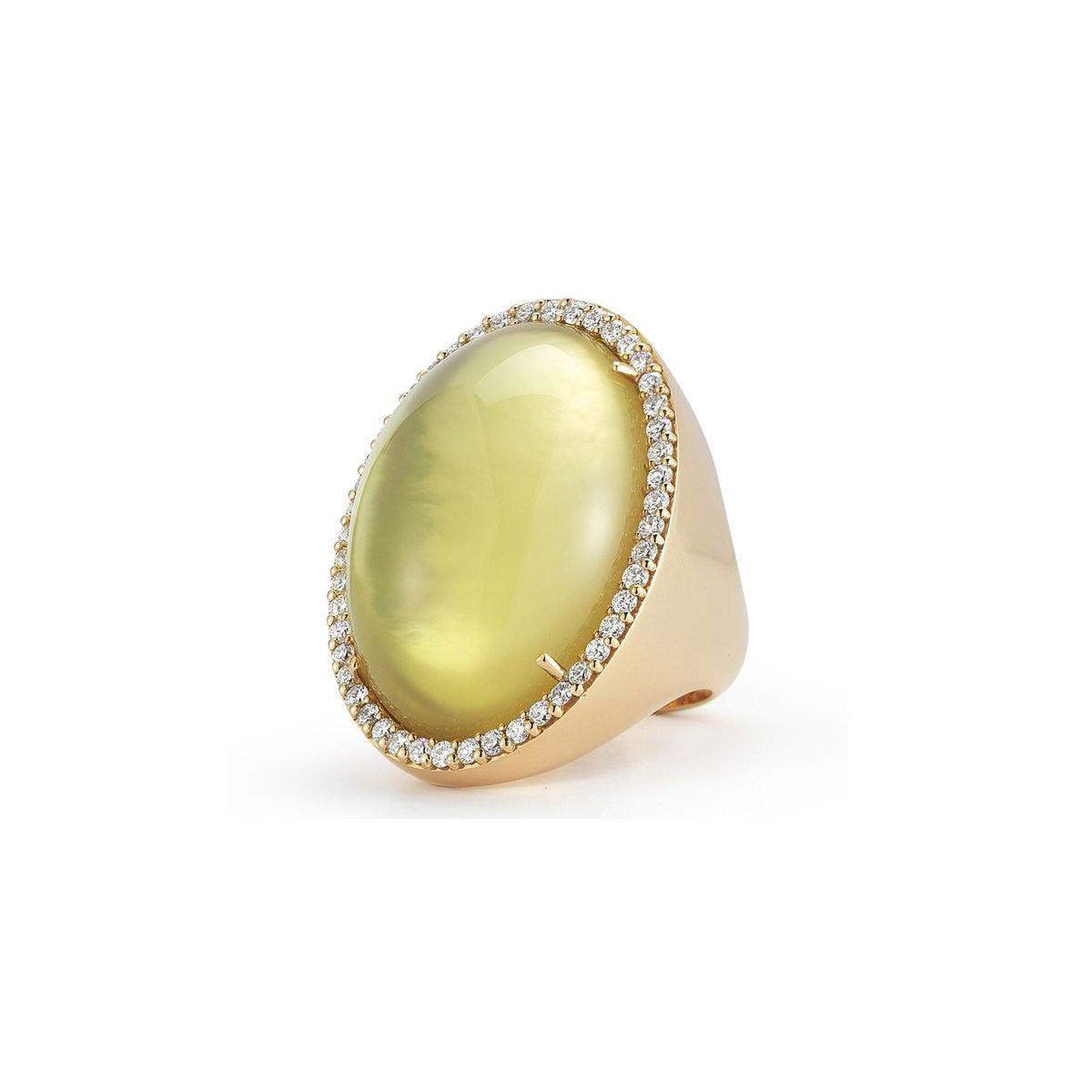 18K Rose Gold Large Oval Ring with Diamonds, Lemon Quartz & Mother of Pearl