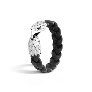 Leather & Sterling Silver Legends Eagle Head Bracelet