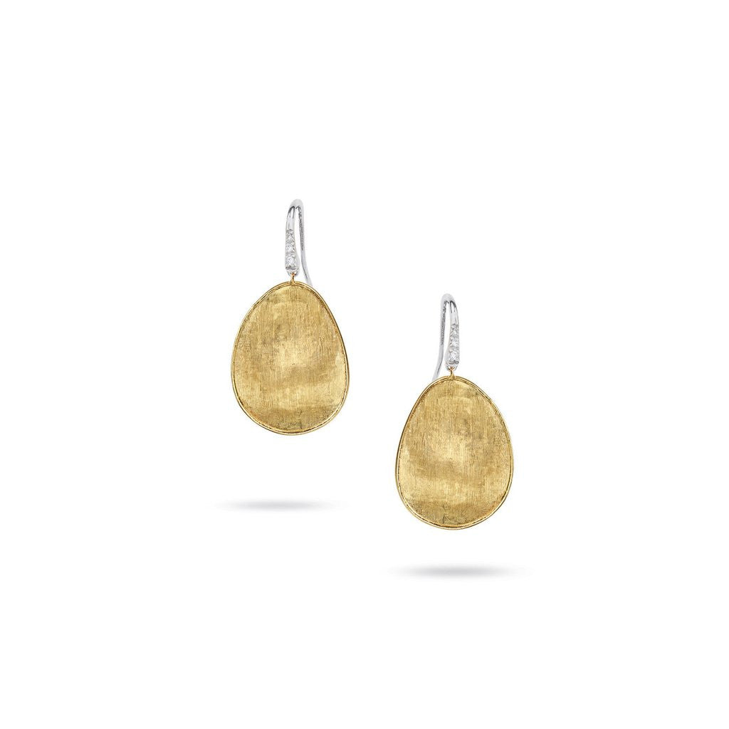 Lunaria 18K Yellow Gold & Diamond Pave Medium French Wire Earrings