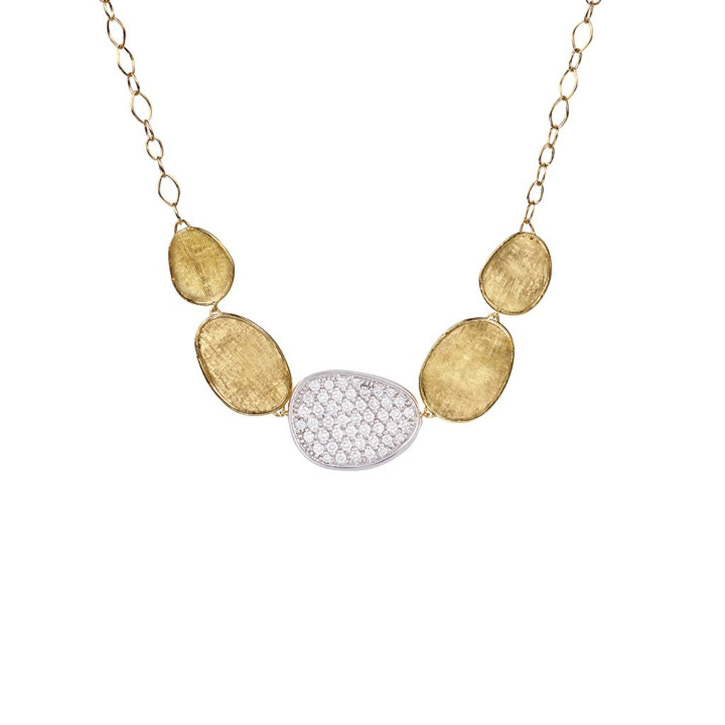 Lunaria 18K Yellow Gold & Diamond Pave Graduated Necklace