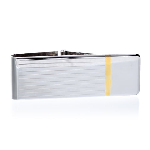 Sterling Silver Hinged Money Clip with Gold Accent